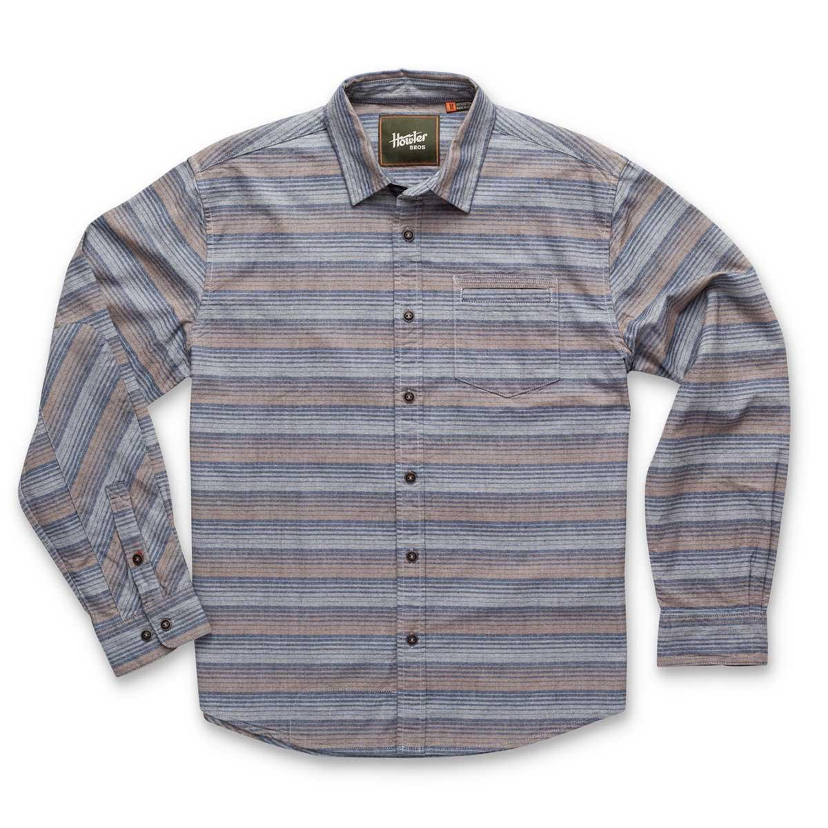 Front of Howler Bros Enfield Shirt in equator stripe dusk