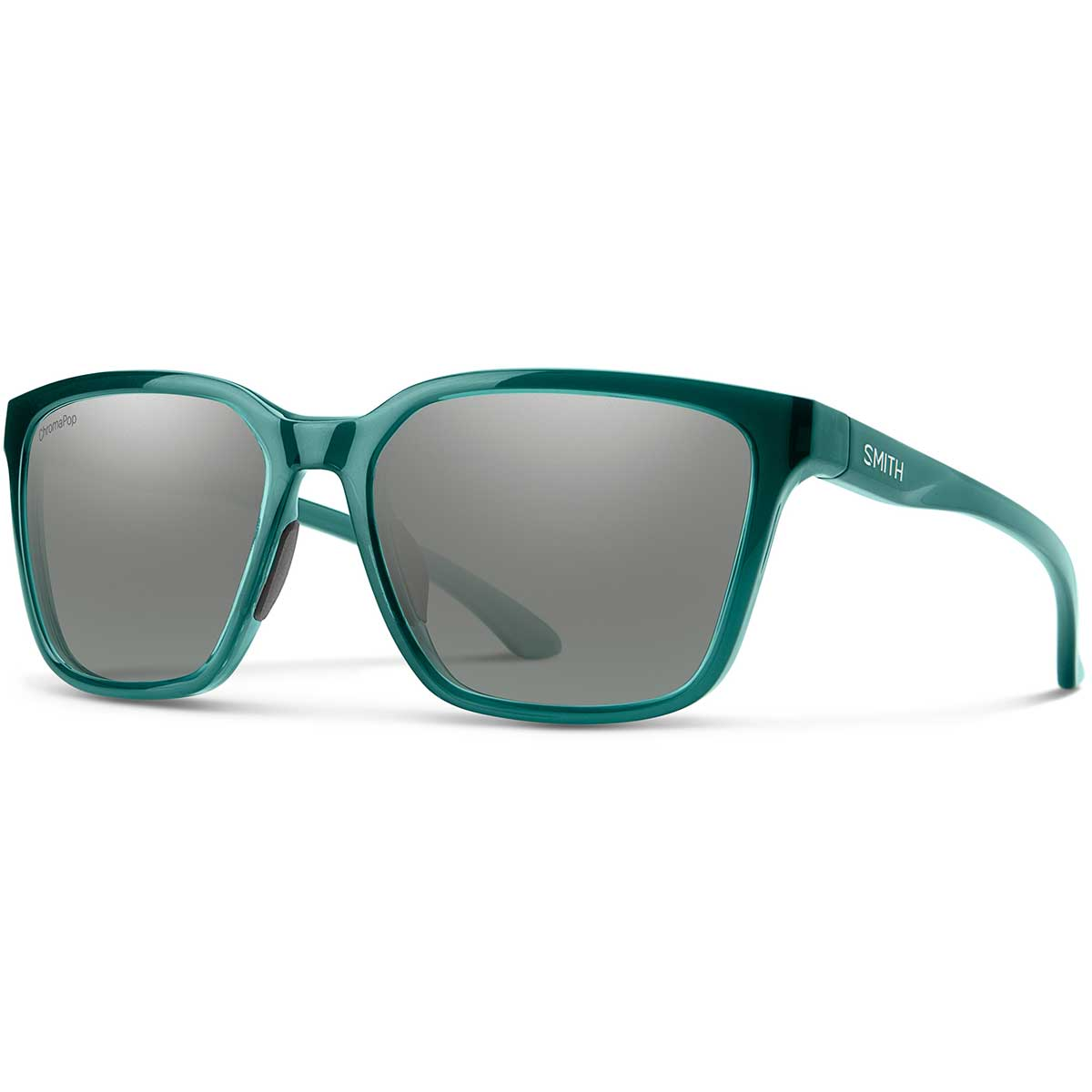 Smith Shoutout Sunglasses Polarized Chromapop in Crystal Deep Forest with Platinum Mirror main view